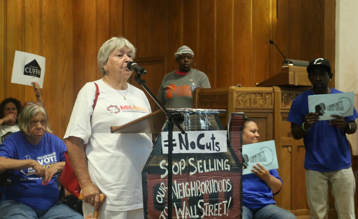 Margie Mathers, a housing activist with MH Action, speaking at the Tenant March on Washington, July 12, 2017.