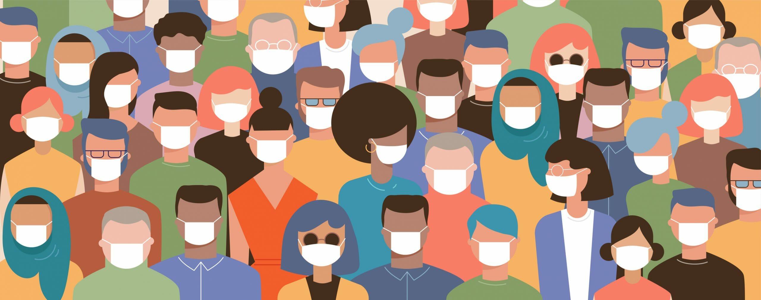Illustration of a crowd wearing masks