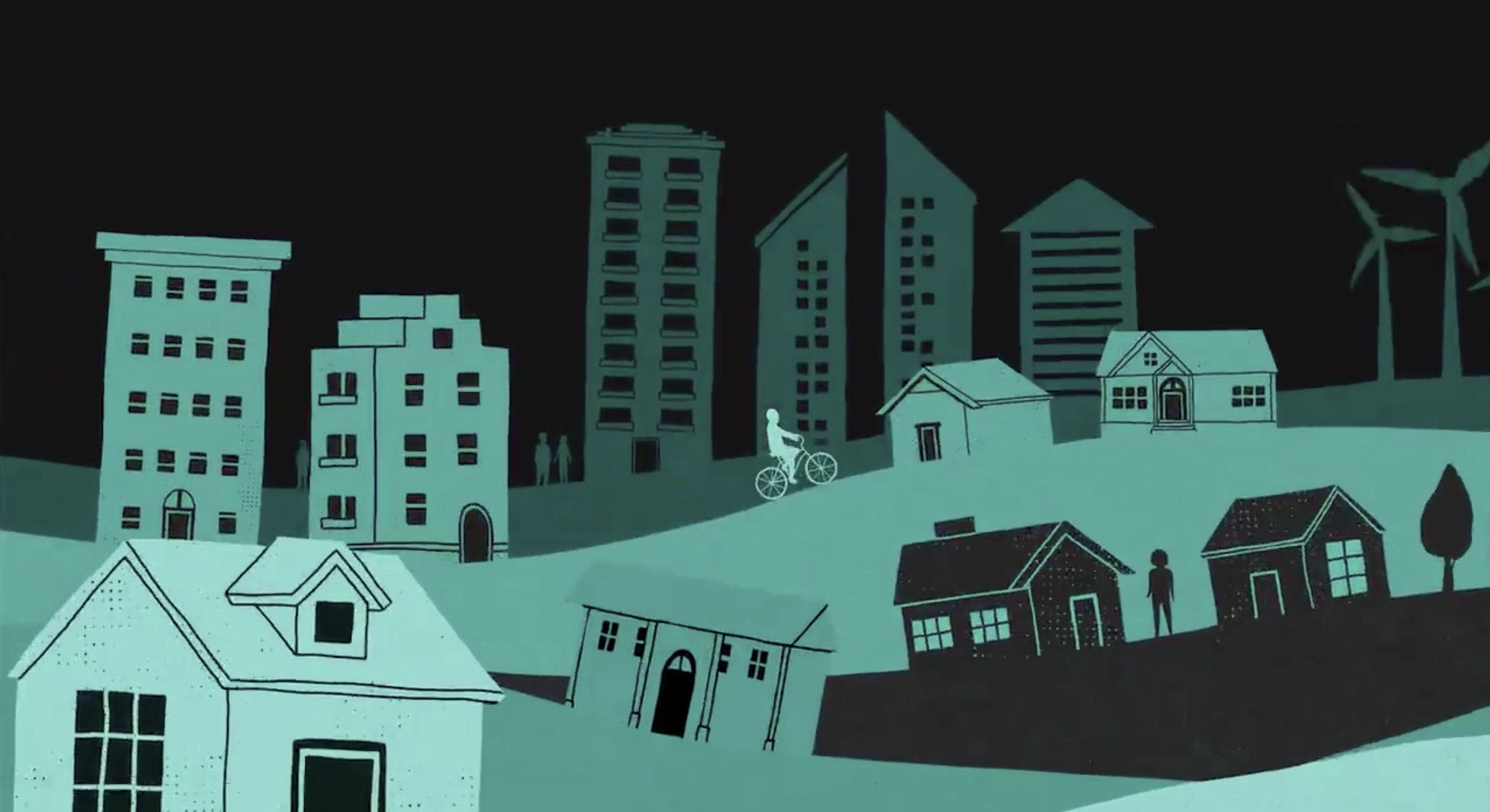 illustration of person riding a bike through a neighborhood of high-rises and single family homes
