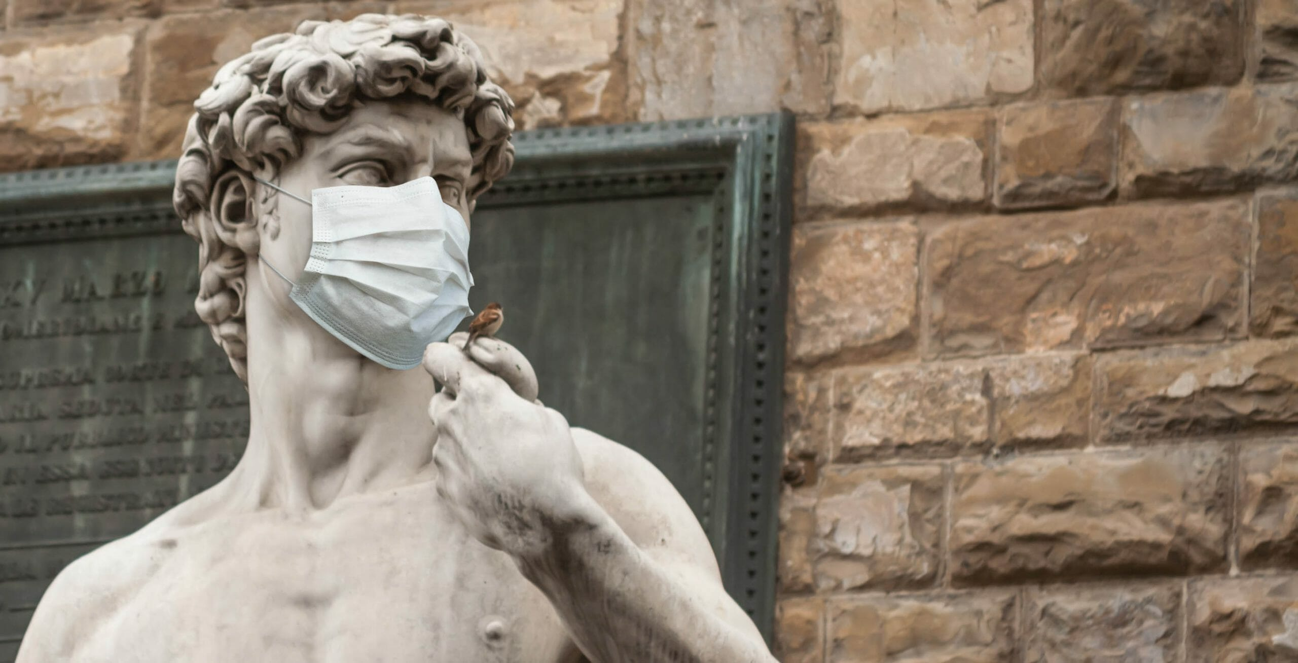 David statue wearing a surgical mask