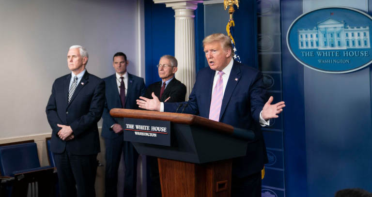 President Trump speaking at a press conference with Dr. Fauci and Vice President Mike Pence